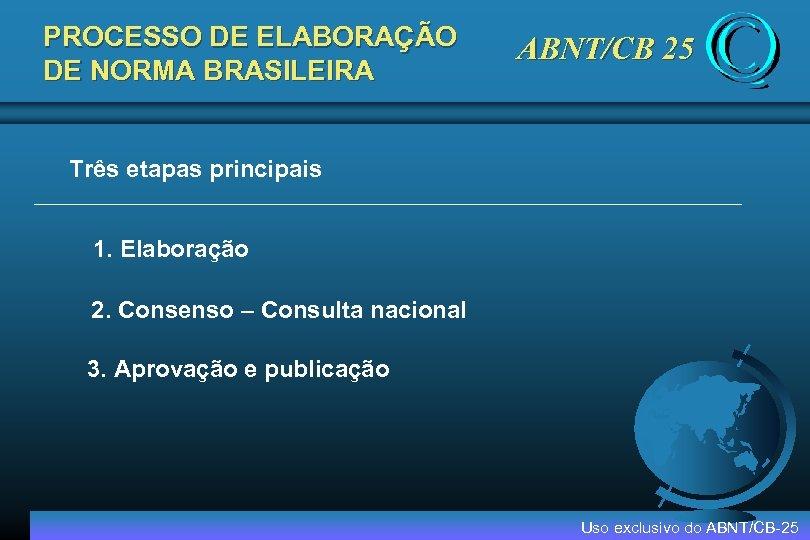 PROCESSO DE ELABORAÇÃO DE NORMA BRASILEIRA ABNT/CB 25 Três etapas principais 1. Elaboração 2.