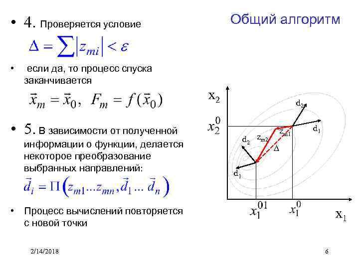 Общий алгоритм • 4. Проверяется условие • если да, то процесс спуска заканчивается x