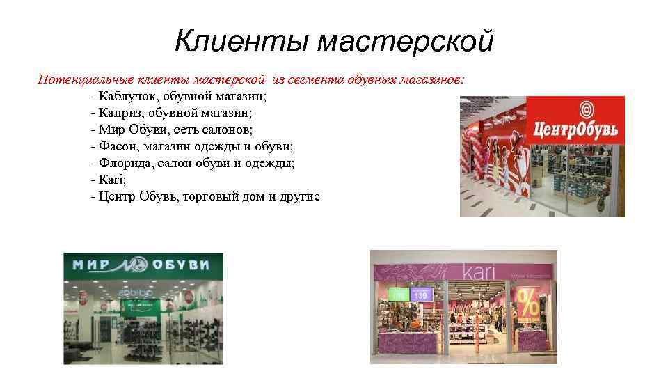 Клиенты мастерской Потенциальные клиенты мастерской из сегмента обувных магазинов: - Каблучок, обувной магазин; -