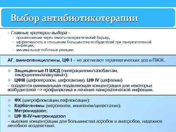 Выбор антибиотикотерапии • Главные критерии выбора – • проникновение через гемато-панкреатический барьер, • эффективность