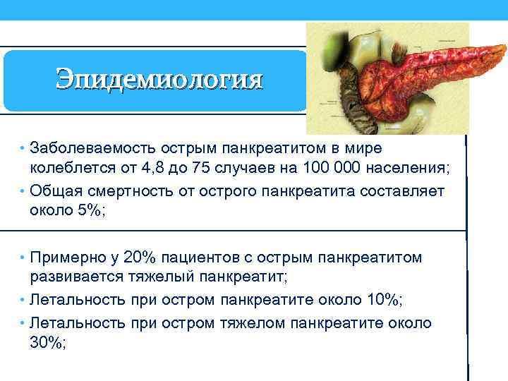 Эпидемиология • Заболеваемость острым панкреатитом в мире колеблется от 4, 8 до 75 случаев