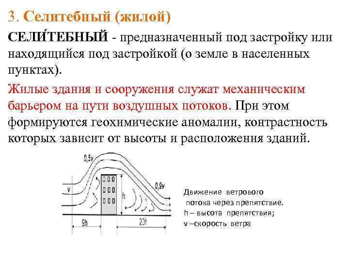 3. Селитебный (жилой) СЕЛИ ТЕБНЫЙ - предназначенный под застройку или находящийся под застройкой (о