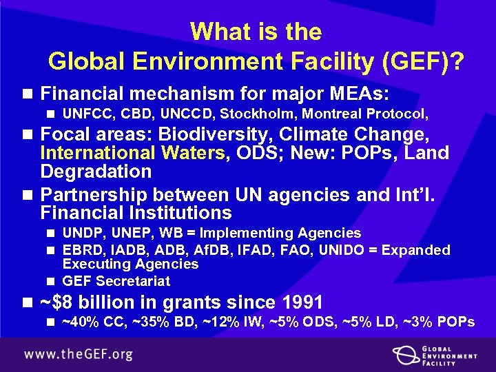 What is the Global Environment Facility (GEF)? n Financial mechanism for major MEAs: n