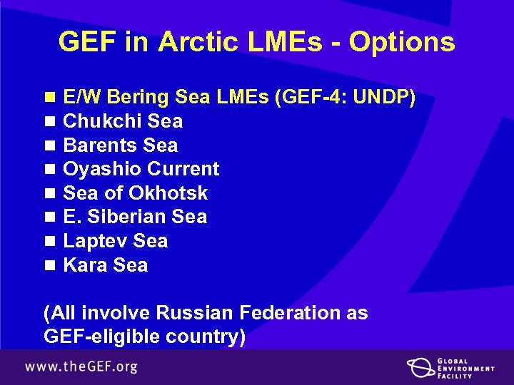GEF in Arctic LMEs - Options n n n n E/W Bering Sea LMEs