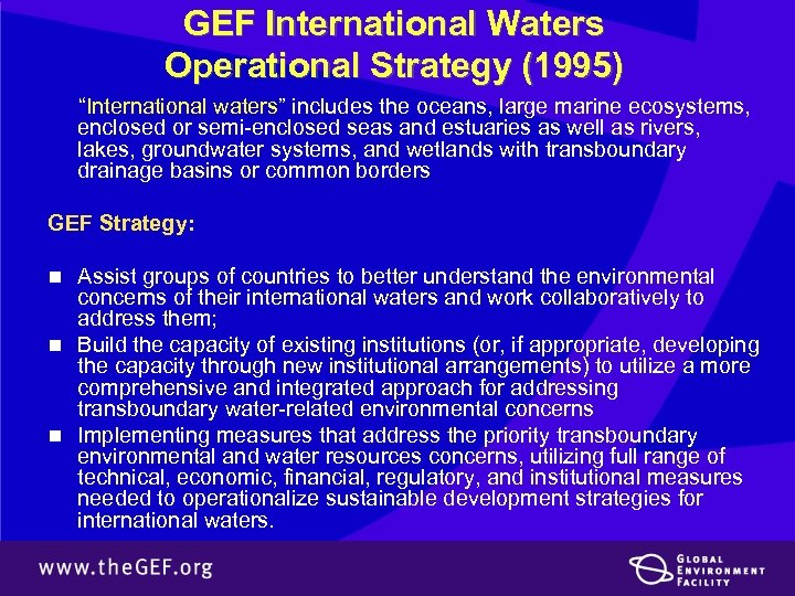 "GEF International Waters Operational Strategy (1995) ""International waters"" includes the oceans, large marine ecosystems,"