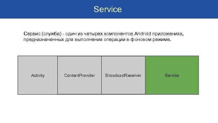 Service Сервис (служба) - один из четырех компонентов Android приложениях, предназначенных для выполнения операции