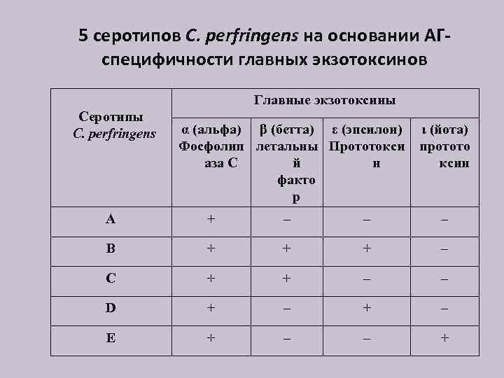 5 серотипов C. perfringens на основании АГспецифичности главных экзотоксинов Главные экзотоксины Серотипы C. perfringens