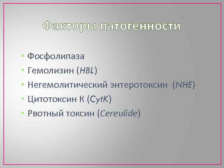 Факторы патогенности • • • Фосфолипаза Гемолизин (HBL) Негемолитический энтеротоксин (NHE) Цитотоксин К (Cyt.