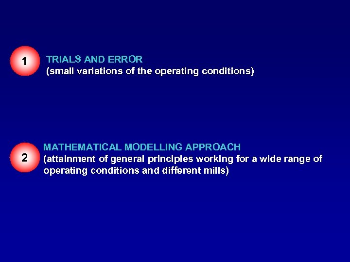 1 TRIALS AND ERROR (small variations of the operating conditions) 2 MATHEMATICAL MODELLING APPROACH