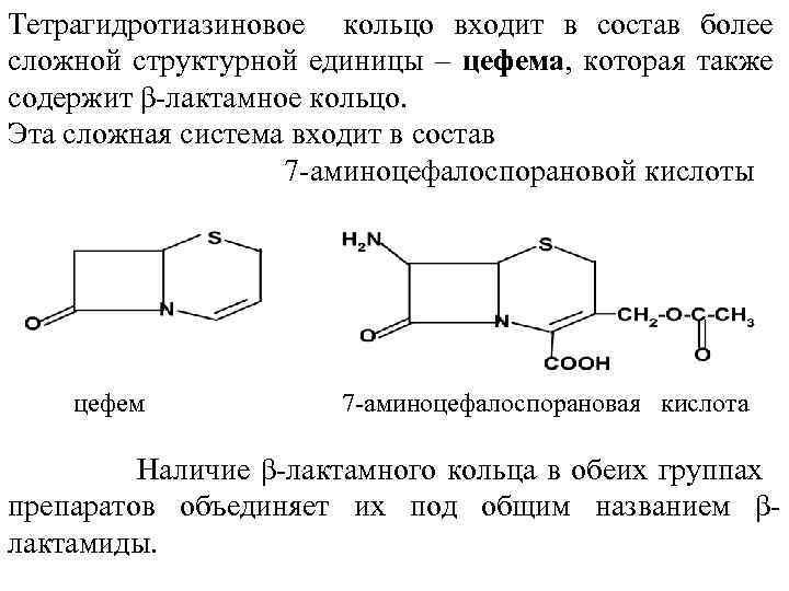 Тетрагидротиазиновое кольцо входит в состав более сложной структурной единицы – цефема, которая также содержит