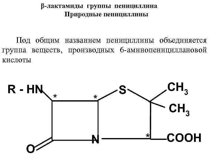 β-лактамиды группы пенициллина Природные пенициллины Под общим названием пенициллины объединяется группа веществ, производных 6