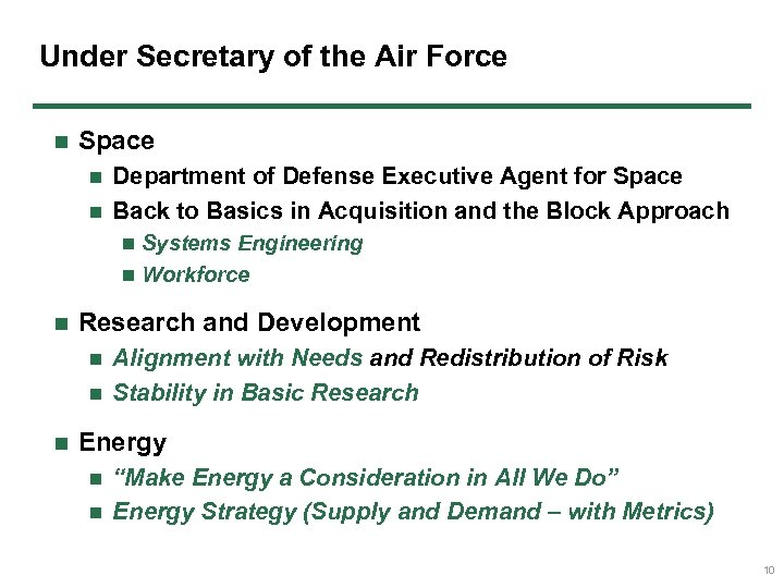 Under Secretary of the Air Force n Space Department of Defense Executive Agent for