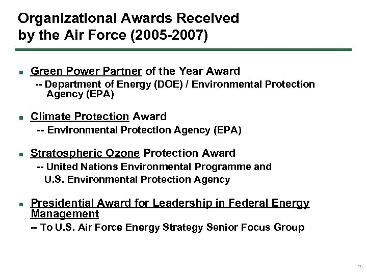 Organizational Awards Received by the Air Force (2005 -2007) n Green Power Partner of