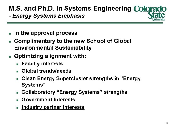 M. S. and Ph. D. in Systems Engineering - Energy Systems Emphasis n n