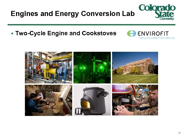 Engines and Energy Conversion Lab § Two-Cycle Engine and Cookstoves 30