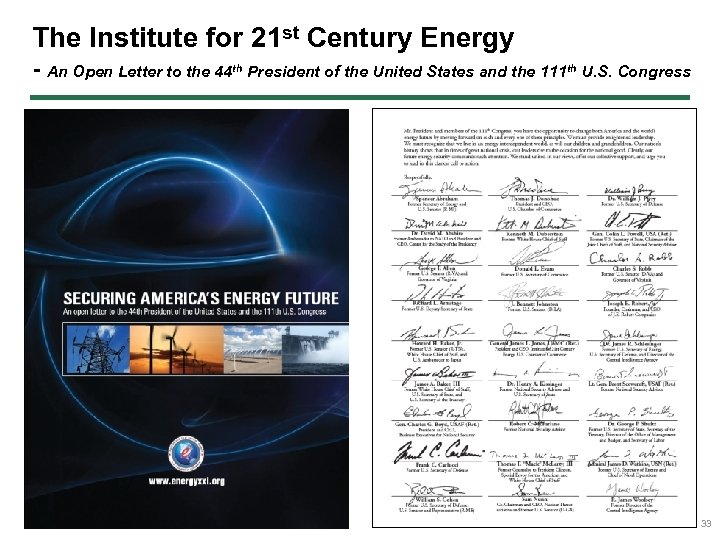 The Institute for 21 st Century Energy - An Open Letter to the 44