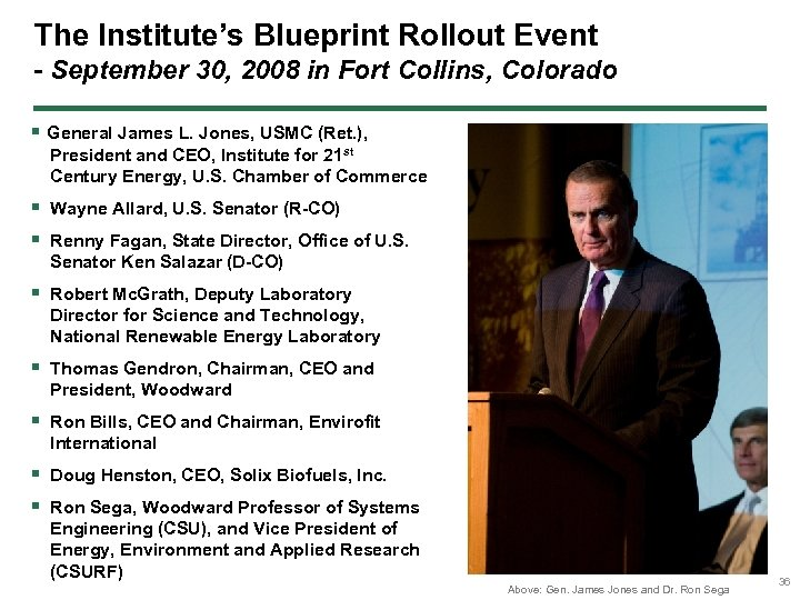 The Institute's Blueprint Rollout Event - September 30, 2008 in Fort Collins, Colorado §