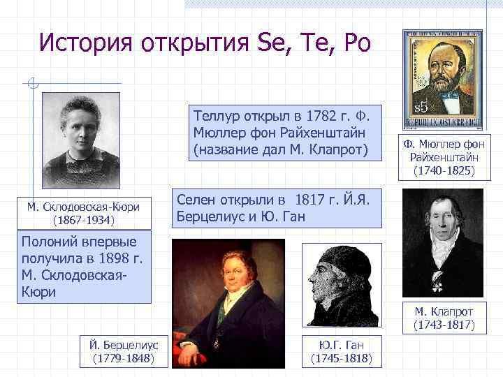 История открытия Se, Te, Po Теллур открыл в 1782 г. Ф. Мюллер фон Райхенштайн