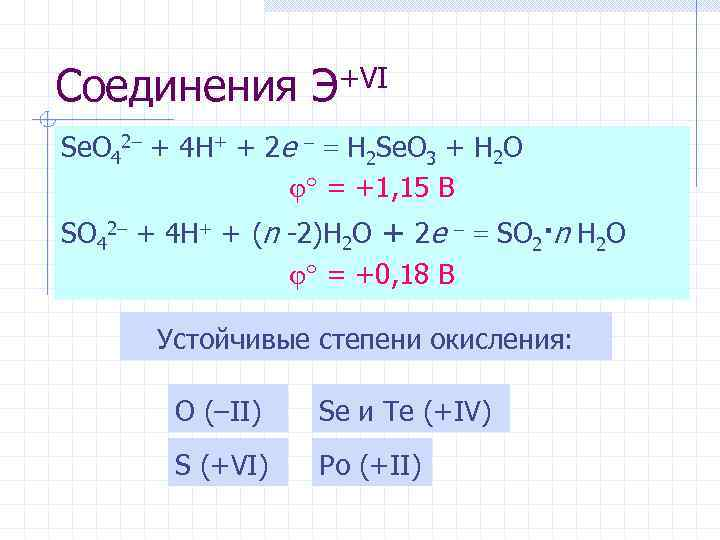 Соединения Э+VI Se. O 42– + 4 H+ + 2 e = H 2