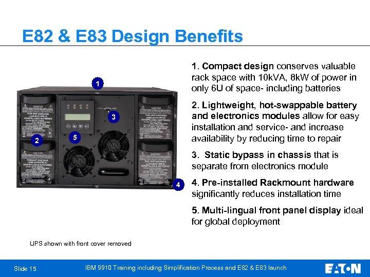 E 82 & E 83 Design Benefits 1. Compact design conserves valuable rack space