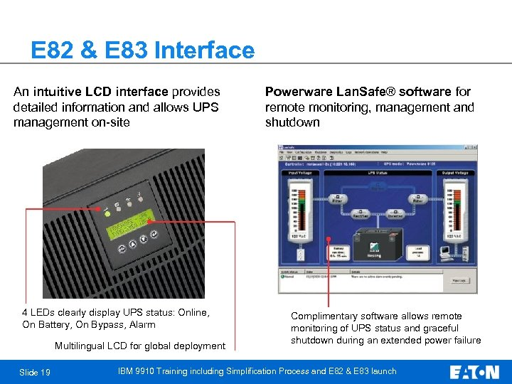 E 82 & E 83 Interface An intuitive LCD interface provides detailed information and