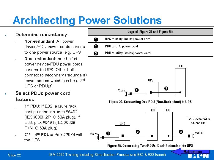 Architecting Power Solutions 1. Determine redundancy • • 2. Non-redundant: All power device/PDU power