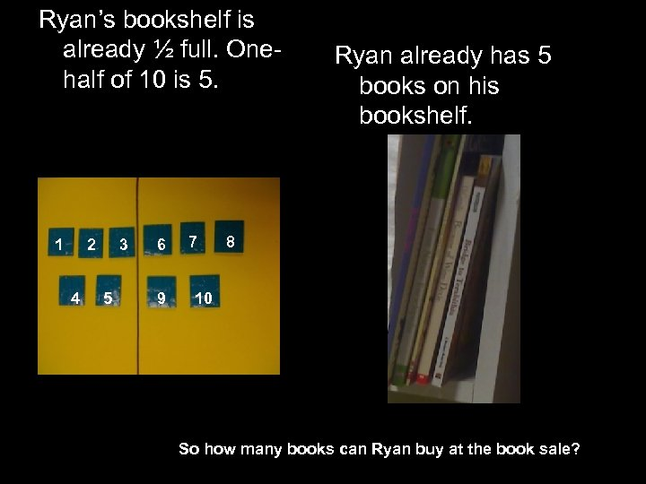 Ryan's bookshelf is already ½ full. Onehalf of 10 is 5. 1 2 4