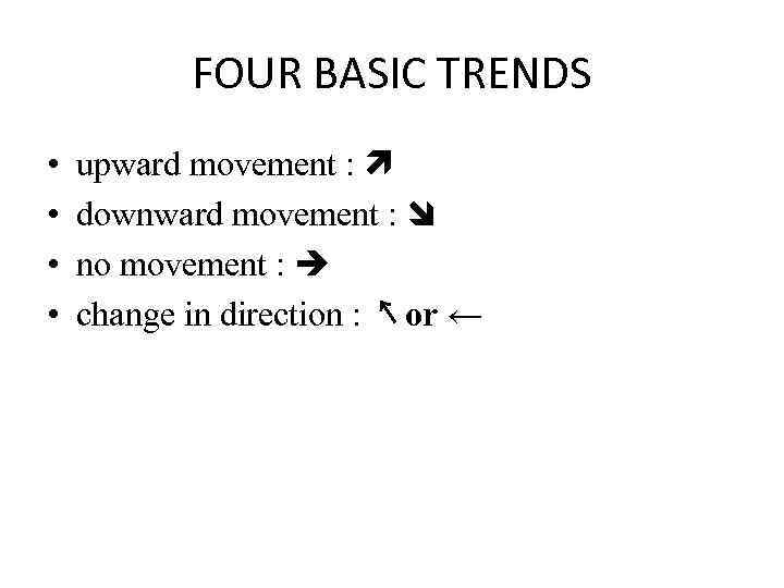 FOUR BASIC TRENDS • • upward movement : downward movement : no movement :