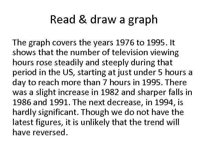 Read & draw a graph The graph covers the years 1976 to 1995. It