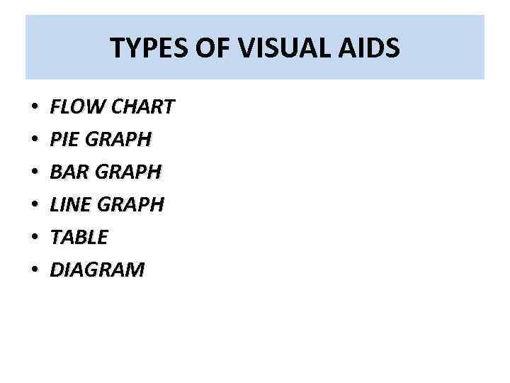 TYPES OF VISUAL AIDS • • • FLOW CHART PIE GRAPH BAR GRAPH LINE