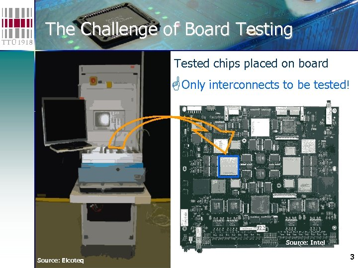 The Challenge of Board Testing Tested chips placed on board Only interconnects to be