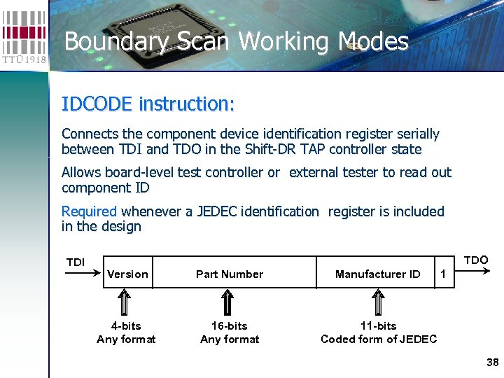 Boundary Scan Working Modes IDCODE instruction: Connects the component device identification register serially between