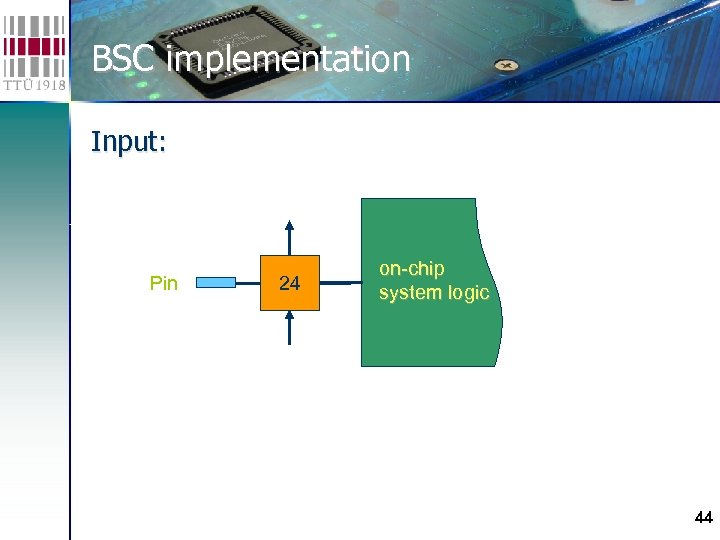 BSC implementation Input: Pin 24 on-chip system logic 44