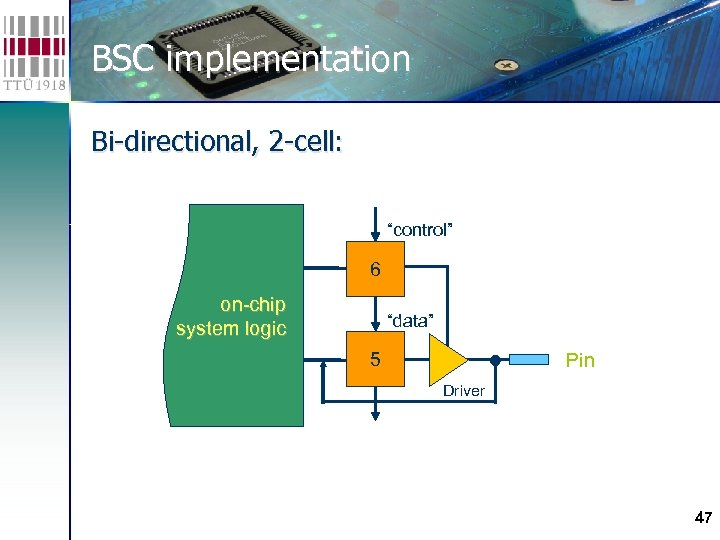 "BSC implementation Bi-directional, 2 -cell: ""control"" 6 on-chip system logic ""data"" 5 Pin Driver"