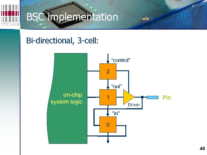 "BSC implementation Bi-directional, 3 -cell: ""control"" 2 ""out"" on-chip system logic 1 Pin Driver"