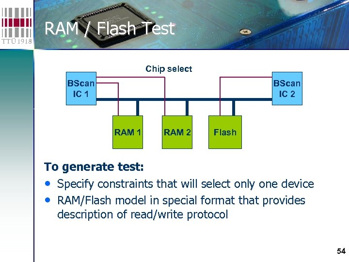 RAM / Flash Test Chip select BScan IC 1 BScan IC 2 RAM 1