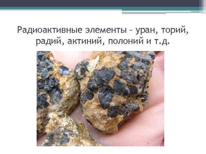 Радиоактивные элементы – уран, торий, радий, актиний, полоний и т. д.