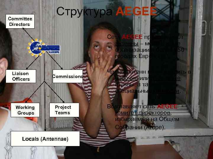 Committee Directors Структура AEGEE: Сеть AEGEE представляют антенны – молодёжные организации в более 250