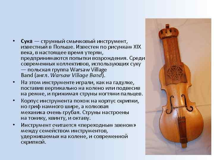• Сука — струнный смычковый инструмент, известный в Польше. Известен по рисункам XIX
