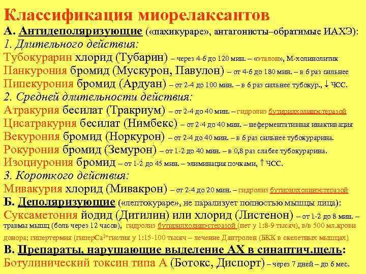 Классификация миорелаксантов А. Антидеполяризующие ( «пахикураре» , антагонисты–обратимые ИАХЭ): 1. Длительного действия: Тубокурарин хлорид