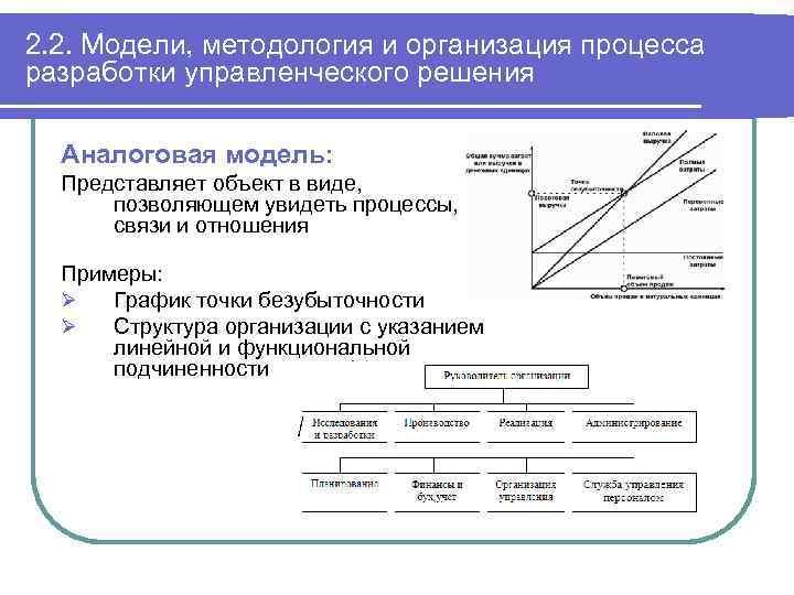2. 2. Модели, методология и организация процесса разработки управленческого решения Аналоговая модель: Представляет объект