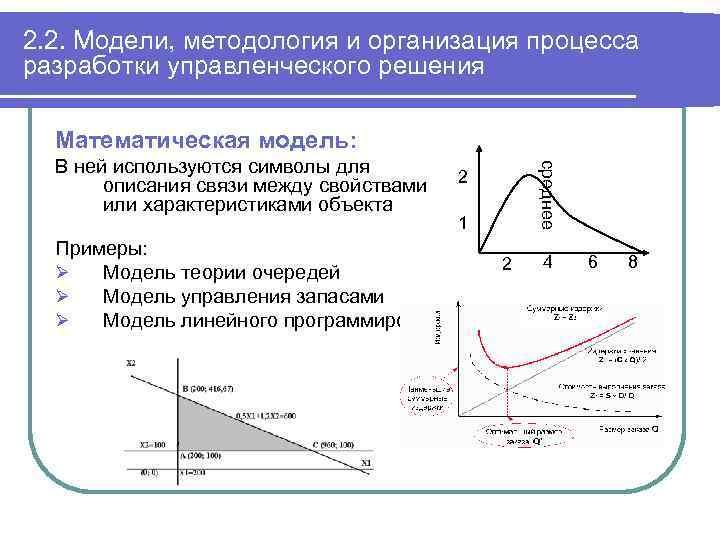 2. 2. Модели, методология и организация процесса разработки управленческого решения Математическая модель: среднее В