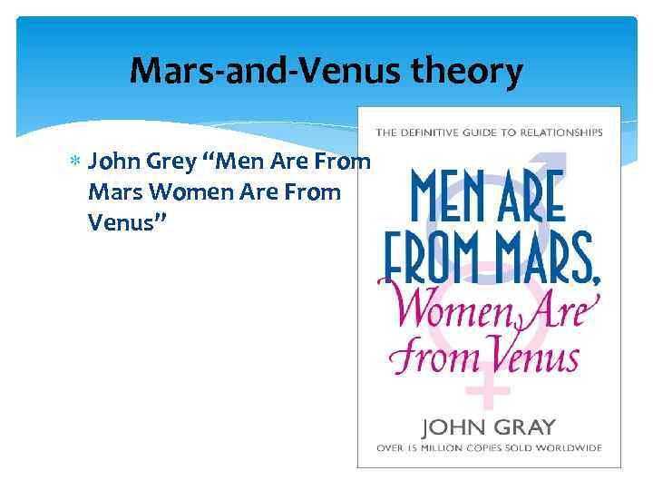 "Mars-and-Venus theory John Grey ""Men Are From Mars Women Are From Venus"""