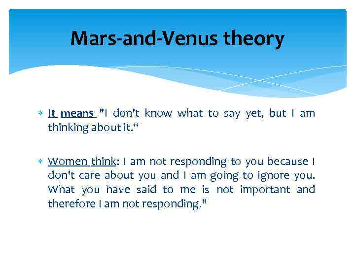 Mars-and-Venus theory It means