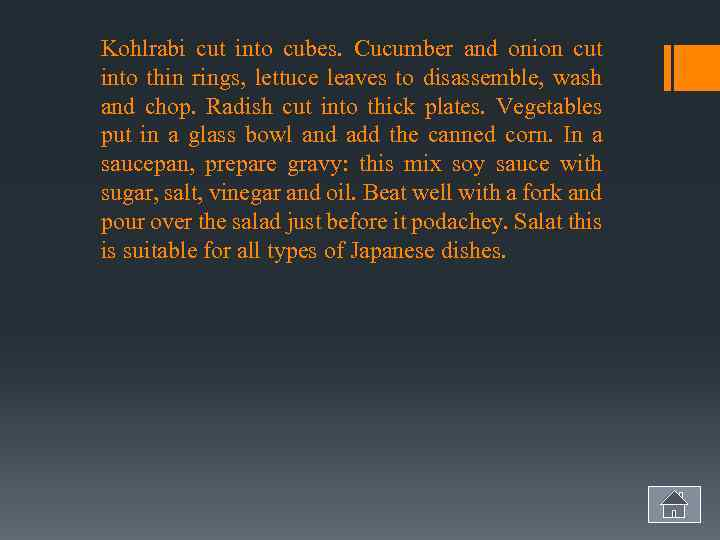 Kohlrabi cut into cubes. Cucumber and onion cut into thin rings, lettuce leaves to