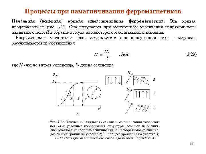 Процессы при намагничивании ферромагнетиков Начальная (основная) кривая намагничивания ферромагнетика. Эта кривая представлена на рис.