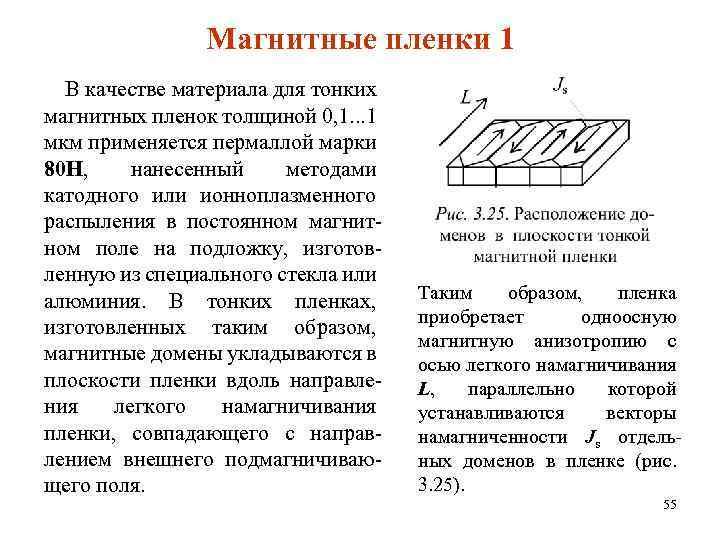 Магнитные пленки 1 В качестве материала для тонких магнитных пленок толщиной 0, 1. .