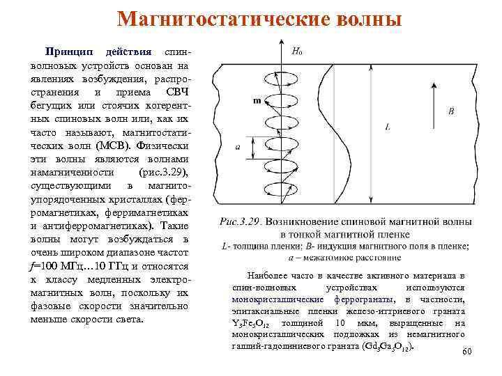 Магнитостатические волны Принцип действия спинволновых устройств основан на явлениях возбуждения, распространения и приема СВЧ