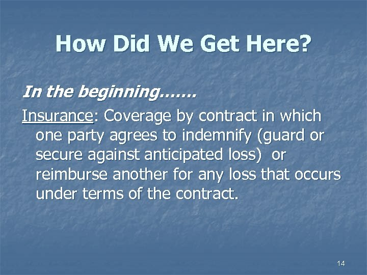 How Did We Get Here? In the beginning……. Insurance: Coverage by contract in which