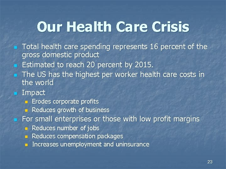 Our Health Care Crisis n n Total health care spending represents 16 percent of